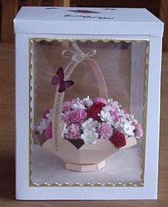 Flower Baskey by Joanne Drinkwater, using a card making template from Card Carousel. Card Making Templates, Exploding Box Card, 3d Craft, Pretty Cards, Display Boxes, Flower Basket, Carousel, Making Ideas, Paper Flowers