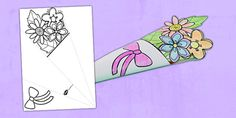 Mother's Day Paper Flower Bouquet Colouring Activity