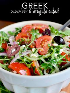 All Things Savory: Greek Cucumber and Arugula Salad - Iowa Girl Eats Healthy Diet Recipes, Healthy Salads, Healthy Eating, Slow Cooking, Cooking Recipes, Paleo, Cookies Et Biscuits, Soup And Salad, Feta