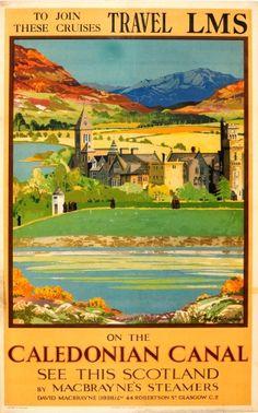 Caledonian Canal Scotland LMS, 1928 - original vintage poster by Tom Gilfillan listed on AntikBar.co.uk