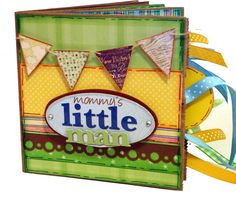 Mommy's Little Man Paper Bag Scrapbook - Premade Photo Album Paper Bag Scrapbook, Little Man, Baby Ideas, Scrapbooks, Mini Albums, Fence, Stamping, Cool Pictures, Layouts