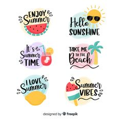 Summer logo vectors, photos and psd files Printable Planner Stickers, Journal Stickers, Scrapbook Stickers, Summer Logo, Homemade Stickers, K Wallpaper, Free Hand Drawing, Aesthetic Stickers, Brush Lettering