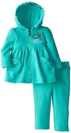 Calvin Klein Baby-Girls Infant Hoody with Pull On Pants, Green, 12 Months. Pull on pants. Baby Girl Shirts, Baby Girls, Little Girl Dresses, Toddler Fashion, Kids Fashion, Baby Dress Design, Frocks For Girls, Pull On Pants, Baby Sewing