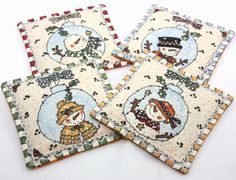 Festive Snowmen/Retro Pink Coasters with by vickyscottagecrafts, $10.00