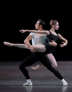 "Rebecca Krohn and Justin Peck in Balanchine's ""Four Temperaments."" Photo by Paul Kolnik."