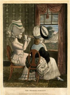 """""""The Wishing Females"""". Satire; two fashionably-dressed young women with plumes in their hair, sitting at an open window and looking down at soldiers in the park below, the one on the left holding a telescope. 6 July 1781 hand-coloured mezzotint with some etching."""