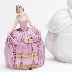 Antique Powder Jar Vanity Box   German by mockingbirdgallerync