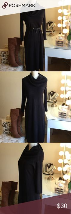 Warm cozy Black Sweater Dress Get ready for Fall!! This dress will keep you warm.  Material is so soft and thick.  Great with boots!  Excellent condition.  Pair it with any belt you want.  It fits best a size 4-6 dress size.  I think it would even fit a size 8 . It's very stretchy.  It hits below the knees.  It's a great winter and fall piece.  Accessories not included.  Open to offers.  If you have any questions please ask. Dresses Long Sleeve