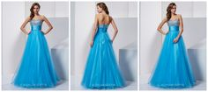 A line strapless sweat heart neck crystal beaded evening dress.