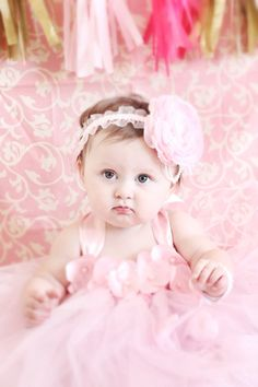 Beautiful pink tutu dress for 6-12 month old baby girl. Great as photo prop, 1st first birthday dress, or flower girl dress! This order