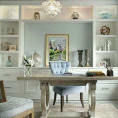 Everything about this home office. 20 Amazing Home Office Design Ideas Love the built in cabinets and the window seat! Home Office Storage, Home Office Space, Home Office Design, Home Office Decor, Office Cubicles, Office Designs, Office Organization, Feminine Office Decor, Home Office Lighting