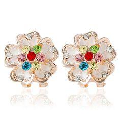 #Twinkledeals - #TwinkleDeals Pair of Rhinestoned Floral Stud Earrings - AdoreWe.com