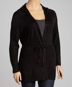 Take a look at this Black Tie-Waist Hooded Cardigan - Plus by Carol Rose on #zulily today!