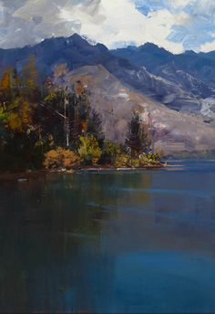 """Lake Wakatipu, near Queenstown"" Ken Knight - Tryon Gallery Australian Painters, Australian Artists, Abstract Landscape, Landscape Paintings, Oil Paintings, Beautiful Paintings, Artist Art, Art Oil, Painting Inspiration"
