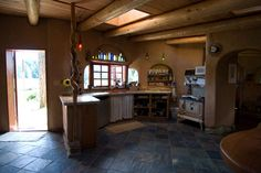 Kitchen in Deaconvale Farms cob house (built by Cobworks) I could live and be comfortable with this kitchen.