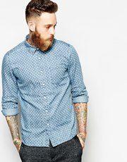 ASOS - Chemise en jean à manches longues et motif pois