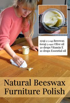 How to make an all-natural Beeswax Furniture Polish using just two main ingredients. It smells of sweet honey and is easily massaged into wooden furniture, ornaments, and kitchenware - How to Make Natural Beeswax Furniture Polish Homemade Furniture Polish, Beeswax Furniture Polish, Beeswax Polish, Furniture Wax, Furniture Ideas, Furniture Cleaning, Furniture Movers, Bee Wax Uses, Beeswax Recipes