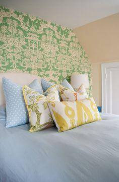 Bright, colorful bedroom decor!