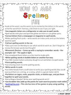 How to Make Spelling Fun - Parent Handout