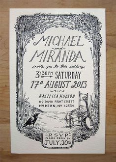 Michael and Miranda's Wedding Hand-lettered, illustrated, and letterpressed wedding invitations.