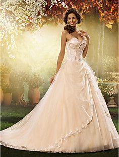 A-Line Sweetheart sweep / spazzola treno abito da sposa in p... – EUR € 247.49