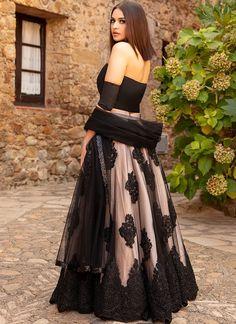 Black Muave Embroidered Lehenga features a taffeta silk top, net + santoon bottom and net dupatta. Lehnga Dress, Lehenga Blouse, Net Lehenga, Punjabi Lehenga, Kurta Lehenga, Sharara, Churidar, Party Wear Lehenga, Party Wear Dresses