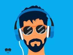 Animation of a hipster listening to music.