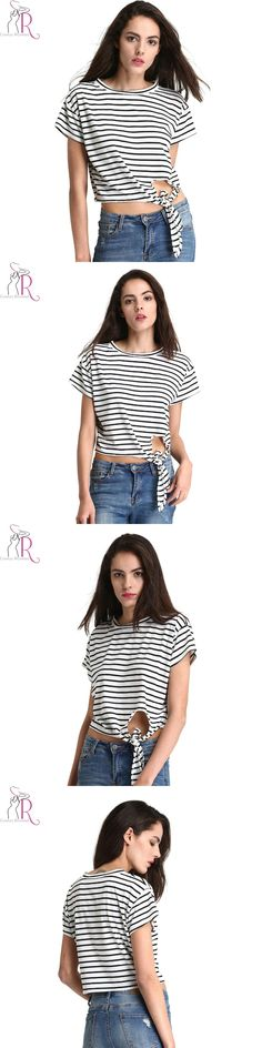 Black and White Stripe Tie Front Cropped T-shirt Sumemr Hollow Out Short Sleeve Round Neck Casual Cotton Women Tee Top