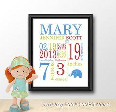 Personalized birth stats, boy baby stats, birth subway art, birth date print, custom baby birth details, birth announcement, baby name art by PinkeeArt, $17.00