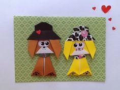Handmade Dog Card, Origami Dog Card, Handmade Card, Dog Lovers, Wedding card dogs, Doglovers
