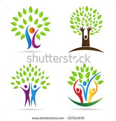Abstract tree vector design represents Eco friendly green, family tree, signs and symbols.