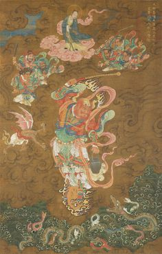 Master Thunder (Lei Gong) Medium: Hanging scroll; ink and color on silk Dimensions: Image: 38 3/4 x 24 5/8 in. (98.4 x 62.5 cm) 明代 雷公圖 掛軸 約1542年 作者不詳.