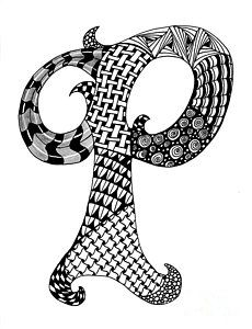 Zentangle Letter F Monogram In Black And White Drawing