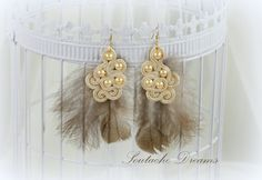 Soutache Earrings With Soft FeathersBridal by SDSoutacheDreams