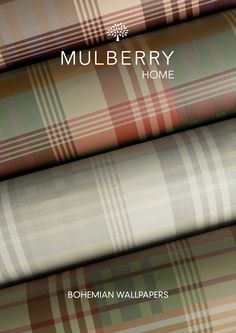 Mulberry Ancient Tartan from the Bohemian Wallpaper Collection by Mulberry Home. Marimekko Wallpaper, Tartan Wallpaper, Bohemian Wallpaper, Striped Wallpaper Living Room, Dining Room Wallpaper, Home Wallpaper, Mulberry Home, Small Lounge, Christmas Room