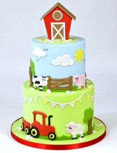Cute Farm Yard Cake Tutorial brought to you by FMM Sugarcraft. The latest cutter. Cute Farm Yard C Farm Birthday Cakes, Animal Birthday Cakes, Farm Animal Birthday, 2nd Birthday Cake Boy, Farm Yard Birthday Party, Birthday Cupcakes, Birthday Ideas, Farm Animal Cakes, Farm Animals