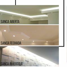 Sancas são molduras, normalmente em #gesso ou #madeira, instaladas no encontro entre as #paredes e o teto. Mas para além da questão estética de decorar e esconder tubulações, as sancas também apoiam o projeto de #iluminação do espaço, pois permitem aplicação de spots, neons, fitas de LED, dentre outros. Confira na imagem a #sanca aberta: com espaços vazios voltados ao centro do #ambiente. Sanca fechada: rebaixa pontos específicos do ambiente e sanca invertida: que é aberta, mas com os… Interior Design Tips, Interior Exterior, Interior Decorating, Home Room Design, House Design, Architecture Details, Interior Architecture, Home Ceiling, Dream House Plans