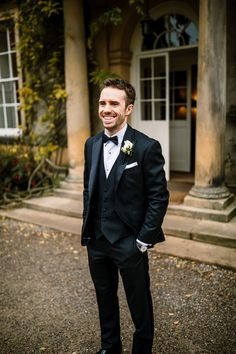 Long-sleeved Caroline Castigliano Dress for a Cosy, Candlelit, Country House + Black Tie Winter Wedding Groom Attire Black, Groom And Groomsmen Style, Groom Wear, Groom Style, Groom Suits, Black Groomsmen Suits, Navy Groom, Wedding Gifts For Groom, Wedding Men