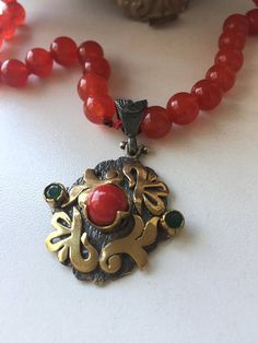 Red Jade Necklace with Sterling Silver Turkish Pendant-Free