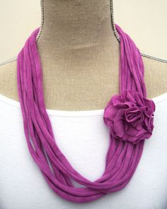 Upcycled Raspberry Pink Jersey Tee Noodle Necklace with Removable Flower Clip, Recycled T-shirt Loop Scarf. via Etsy.