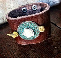 Vintage Leather Cuff Bracelets Upcycled Leather by ThreeBirdNest, $38.00