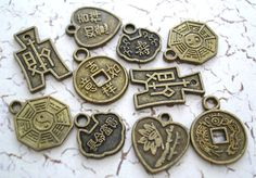Chinese Good Luck Charms Asian Bronze Antiqued Mix 10