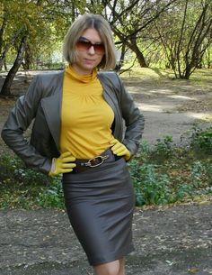 Leather skirt blazer gloves
