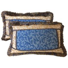 Blue & Gold Acanthus Leaf Scroll Pillows - A Pair ($125) ❤ liked on Polyvore featuring home, home decor, throw pillows, pillows, blue accent pillows, gold throw pillows, rectangle throw pillow, blue home accessories and set of 2 throw pillows