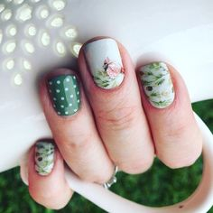 Winter Elegance and Olive You Lacquer with White Mini Polka over it. Clever and gorgeous.
