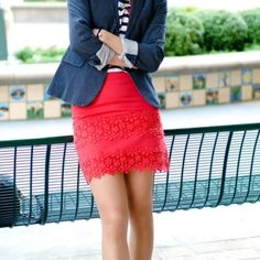 """J Crew Daisy Lace Mini Skirt Fully lined red mini with beautiful lace tier detail. 16"""" long. Fits 2-4. Retail version. Photo credit: fitfabfunmommy.com   ~CONDITION: Very good   No Trades ✅ Discounted Bundles ✅ Offer Button Welcome J. Crew Skirts Mini"""