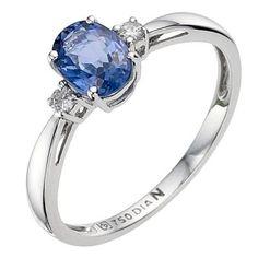18ct white gold sapphire and diamond ring- Ernest Jones