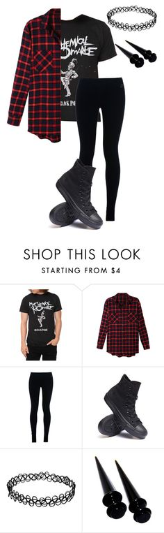 """What I Wore Today"" by bands-are-my-savior ❤ liked on Polyvore featuring moda, LE3NO, NIKE y Converse"