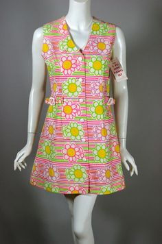 SOLD 1960s mod mini dress dayglo daisies print cotton hotpants 2pc from Viva Vintage Clothing