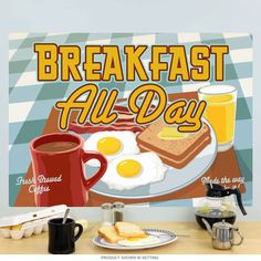This breakfast all day wall decal sports a mouth watering design inspired by classic American diners. It's an easily removable wall sticker made of textured polyester fabric with a glare-free matte finish. It sticks to most flat surfaces in your kitchen or restaurant, including cabinets, fridges, and more. Made in the USA. An original design from the Retro Planet collection. Available in 12